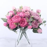 157.0 руб. 39% СКИДКА|30 см розовые шелковые пионы, искусственные цветы букет 5 большая голова и 4 бутона дешевые искусственные цветы для дома Свадебные украшения в помещении-in Искусственные и сухие цветы from Дом и сад on Aliexpress.com | Alibaba Group