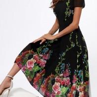 Элегантное Миди Платья с цветочным принтом с короткыми рукавами  - Floryday @ floryday.com
