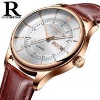 € 8.88 57% de réduction|Haute qualité cadran en or Rose montre hommes en cuir étanche 30 M montres d