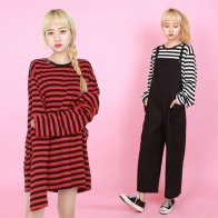 US $12.99 50% OFF|2018 New Black White Red Striped Long Sleeve Korean T Shirt Women Men Loose T shirt Female Fashion Korean Style School Students-in T-Shirts from Women