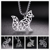 Lemegeton Origami Fox Howling Wolf Elephant Polar Bear Rabbit Animal Pendant Necklaces Men Stainless Steel Necklace  Jewelry