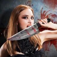Хэллоуин моделирование крови кухонный нож пластиковые поддельные кровавые реквизиты оружие Косплей ужас игрушка вечерние украшения с нак... - Helloween / Хеллоуин