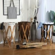 Большая складная корзина для белья, креативная многофункциональная Водонепроницаемая деревянная рама, одежда, игрушки, получающие Удобные... - Корзины для белья