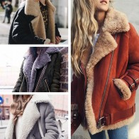 US $17.3 |Women Coat 2018 Faux Fur Collar Lapel Zipper Plain Coats-in Faux Fur from Women