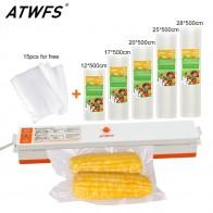 Atwfs дома Еда вакуумный упаковщик упаковочная машина с 5 вакуумный мешок упаковки рулонов (12x500 см, 17x500 см, 20x500 см, 25x500 см, 28x500 см) вакуумный упаковщик чай купить на AliExpress