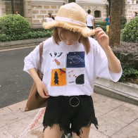 US $6.57 10% OFF|2017 New Fashion Cartoon Cute Printed Simple White Loose Casual All Match Short Sleeve Female T shirt-in T-Shirts from Women