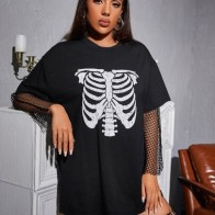 Skull Print Longline Tee Without Fishnet Mesh - For women