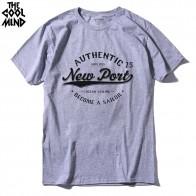 396.41 руб. 23% СКИДКА|THE COOLMIND 100% cotton short sleeve new port printed men T shirt casual o neck knitted mens T shirt men