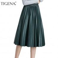 939.18 руб. 36% СКИДКА|TIGENA Высокая талия плиссированная искусственная кожа юбка для женщин 2018 осень зима элегантные миди длинные юбки женский черный, красный кожаная юбка купить на AliExpress