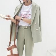 2258.16 руб. 49% СКИДКА|Женский винтажный брючный костюм, офисный светло зеленый двубортный пиджак с разрезом и брюки с высокой талией, 2019-in Брючные костюмы from Женская одежда on Aliexpress.com | Alibaba Group