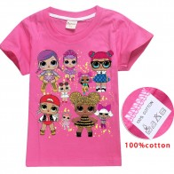 2018 Новое поступление; милый lol T кукла футболки летний топ с круглым вырезом 100% хлопок десткая Одежда для девочек футболки мультфильм подростков летняя одежда купить на AliExpress