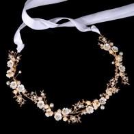 Золотая/серебристая лента с цветком, повязка на голову для женщин и девушек, головной убор для невесты, свадебные украшения для волос, аксес...