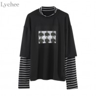 US $9.87 35% OFF|Lychee Spring Autumn Women T Shirt Character Letter Print Stripe Patchwork Casual Loose Long Sleeve T Shirt Tee Top-in T-Shirts from Women
