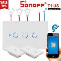 € 3.99 22% de DESCUENTO|Sonoff T1 EU EE. UU. Reino Unido inteligente Wifi pared Interruptor táctil/WiFi/RF/APP remoto hogar inteligente interruptor táctil de pared con Alexa Google Home-in Módulos de domótica from Productos electrónicos on Aliexpress.com | Alibaba Group