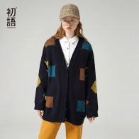 Toyouth Colorful Hit Color Long Sleeve Cardigan Single Breasted V-neck Women Sweaters
