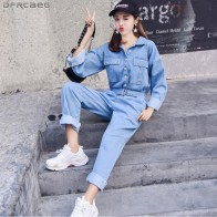 US $29.69 28% OFF|Fashion Streetwear Style Denim Overalls Women 2018 Autumn Long Sleeve Bodysuit High Waist Jeans Bodycon Romper Wide Leg Jumpsuit-in Jumpsuits from Women