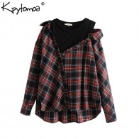 US $14.87 40% OFF|Vintage Stylish Plaid Irregular Loose Tops Women Blouses 2018 Fashion O Neck Long Sleeve Streetwear Shirts Casual Blusas Mujer-in Blouses & Shirts from Women