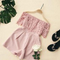 US $17.7 18% OFF|Summer Playsuits Women Slim Sexy Off The Shoulder Shorts Romper Woman Elegant Patchwork Lace Causal Beach Jumpsutis Feminina-in Rompers from Women