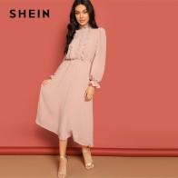 1967.93 руб. 40% СКИДКА|SHEIN розовый оборкой и кружевной отделкой половина планка в горошек жаккардовые Стенд воротник платье осень для женщин с длинным рукавом одноцветн купить на AliExpress