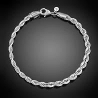 58.61 руб. 30% СКИДКА|4 мм широкий витой цепи посеребренные Браслеты и браслеты для Для женщин серебряная цепь браслет женский свадебные аксессуары купить на AliExpress