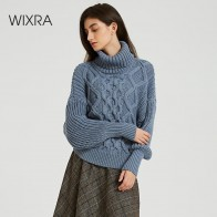 US $18.99 60% OFF|Wixra Womens Sweaters 2019 Autumn Winter Tops Turtleneck Sweater Women Thick Warm Pullover Jumpers Knitted Sweater-in Pullovers from Women