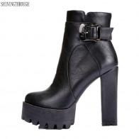 2351.19 руб. 50% СКИДКА|2019 женские ботинки на очень высоком каблуке, модельные туфли из коровьей кожи, женские демисезонные ботильоны на платформе, большие размеры 41, 42 купить на AliExpress