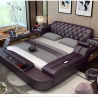 US $949.05 5% OFF|Genuine leather bed frame Soft Beds massager storage safe speaker LED light Bedroom cama muebles de dormitorio / camas quarto-in Beds from Furniture on Aliexpress.com | Alibaba Group