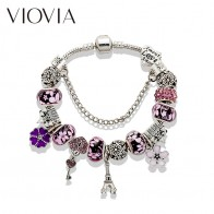 US $3.69 26% OFF|VIOVIA Crystal Beads Bracelets & Bangles Silver Charm Bracelets For Women Diy Jewelry Pulsera Gift B16008-in Charm Bracelets from Jewelry & Accessories on Aliexpress.com | Alibaba Group