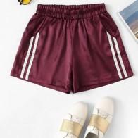 Pantalones cortos a rayas cintura elástica