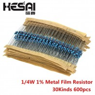 US $1.63 |600pcs/set 30 Kinds 1/4W Resistance 1% Metal Film Resistor Pack Assorted Kit 1K 10K 100K 220ohm 1M Resistors 300pcs/set-in Resistors from Electronic Components & Supplies on Aliexpress.com | Alibaba Group