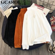 US $9.13 39% OFF|GCAROL New Fall Winter Stand Collar Corduroy Undershirt Full Sleeve Thick Corduroy Sweater Stretch Slim Fit Pullover-in Pullovers from Women