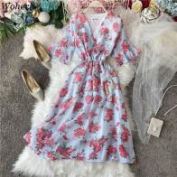Woherb French V-neck Vintage Floral Print Dress Women Hight Waist Butterfly Sleeve Beach Dresses Chic Chiffon Long Vestidos25780
