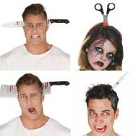 Украшение на Хэллоуин, креативная ужасная повязка, страшные шутки, ужасы, вечерние, с имитацией крови, топором, ножом, повязкой для волос, ужа... - Helloween / Хеллоуин