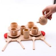 Деревянная детская игрушка, кухонные игрушки, ролевые игры, резка фруктов, овощей, мини, твердые Буковые чашки для чая, кофе, набор, раннее об... - Небанальные детские игрушки