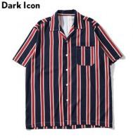 Мужские Винтажные рубашки в полоску с передним карманом Dark Icon, уличные пляжные рубашки в стиле ретро, лето 2019 - Рубашки