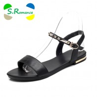 S.Romance Genuine Leather Women Flats Sandals Plus Size 34 43 New Fashion Casual Buckle Strap Woman Shoes Black White SS1074-in Low Heels from Shoes on Aliexpress.com | Alibaba Group