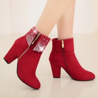 1020.75 руб. 30% СКИДКА|YOUYEDIAN/красные ботинки с кристаллами; женские ботильоны для женщин; коллекция 2018 года; зимняя обувь на высоком каблуке; женские ботинки на молнии; размер 43; Botas Mujer-in Ботильоны from Туфли on Aliexpress.com | Alibaba Group
