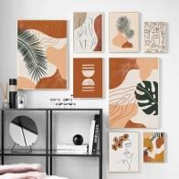 Абстрактный пейзаж с листочками лица для девочек, Картина на холсте, скандинавские постеры и принты, Настенная картина для декора гостиной - Красивые постеры в ваш дом