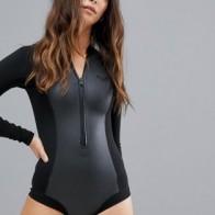 Черный слитный купальник с длинными рукавами Roxy Cheeky