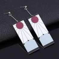 Demon Slayer Kimetsu no Yaiba Earrings Kamado Tanjirou Cosplay Clip Earrings for Women Men 1:1 Custom Jewelry Dropshipping