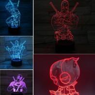 Фигурки героев аниме Марвел Дэдпул, 3D визуальные игрушки, светодиодные Фигурки Мстителей, фигурка конца, светильник Железного Человека-пау...
