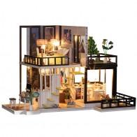 1024.44руб. 35% СКИДКА|Сборный DIY Кукольный дом, игрушка, деревянный миниатюрный кукольный домик, миниатюрные кукольные домики, игрушки с мебели, пылезащитный чехол, светодиодный подарок на день рождения-in Кукольные дома from Игрушки и хобби on AliExpress - Подарки детям