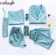 US $20.56 53% OFF|Fdfklak Home Clothes Sexy Pijama 7 Pieces Silk Pajamas For Women Night Suit Sleepwear Sets Pyjamas Women Spring Summer Q1047-in Pajama Sets from Underwear & Sleepwears on Aliexpress.com | Alibaba Group