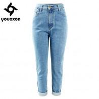 1080.56руб. 50% СКИДКА|1886, Youaxon, 100% хлопок, Ретро стиль, высокая талия, джинсы для мам, женские, синие, черные, джинсовые штаны, бойфренд, джинсы для женщин-in Джинсы from Женская одежда on AliExpress - 11.11_Double 11_Singles