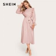 SHEIN Платье С Поясом И Оборкой Женское Кружевное Весеннее Розовое Элегантное Платье С Длинными Рукавами И Круглым Вырезом - Красивые платья в офис