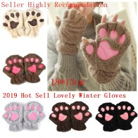 US $1.93 25% OFF|2019 Women Bear Cat Claw Paw Mitten Winter Lovely Gloves Plush Fingerless Glovers Working Safety Warm Short Finger Half Gloves-in Women