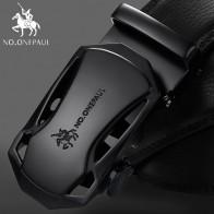 Cinturones de cuero genuino negro con hebilla automática de moda de la marca no.onepaul, cinturones de cuero de vaca para hombres de 3,5 cm de ancho WQE789