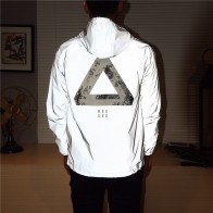 US $19.93 32% OFF Men jacket casual hiphop windbreaker reflective jacket tide brand men and women lovers coat hooded fluorescent clothing-in Jackets from Men