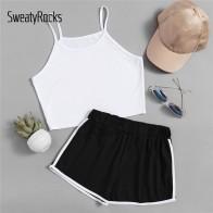 SweatyRocks Crop Cami Top с контрастной отделкой шорты 2018 черно белые ремни простые шорты без рукавов комплект из двух предметов купить на AliExpress