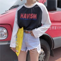 US $9.82 |Harajuku autumn loose letter print t shirt women tops black white spell color long sleeve students T shirts female poleras Mujer-in T-Shirts from Women